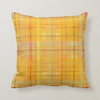 Gold Plaid with Teal Indoor Pillow 16x16