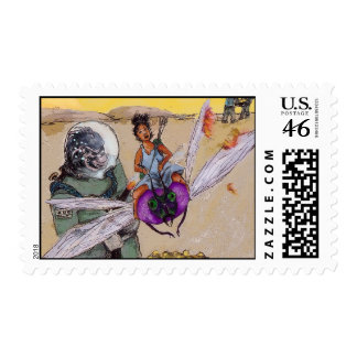 gold-planet postage stamp