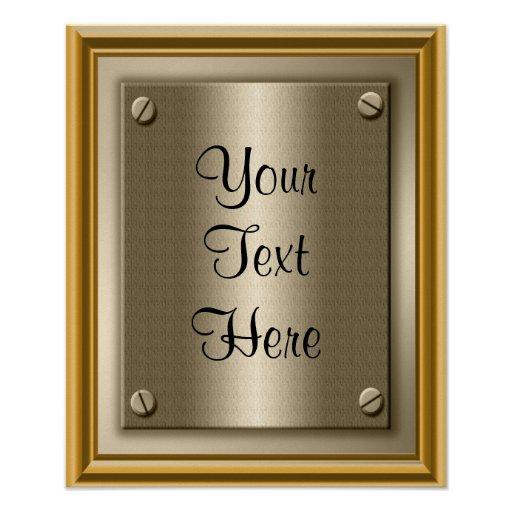 Gold Plaque Poster Print Sign