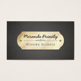 Gold Plate Blak Leather Background Business Card