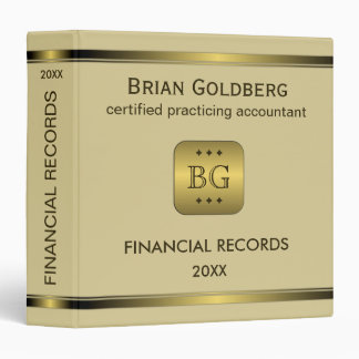 Gold Plate Cream Accounting 1.5 Inch Binders