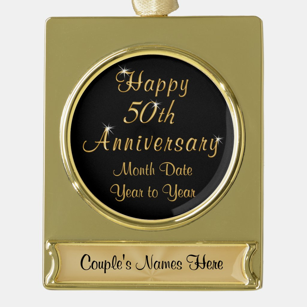 Gold Plate Personalized 50th Anniversary Ornaments