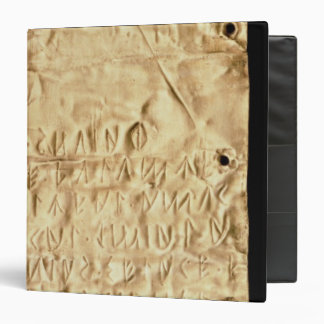 Gold plate with 'brief' Etruscan inscription, from Vinyl Binder
