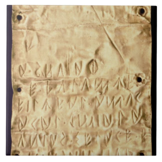 Gold plate with 'brief' Etruscan inscription, from Large Square Tile