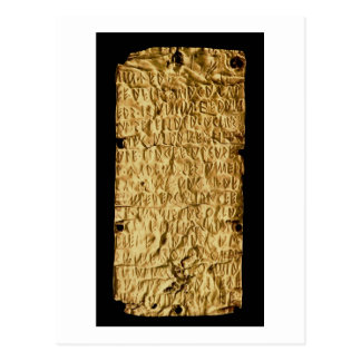 Gold plate with 'lengthy' Etruscan inscription fro Postcard