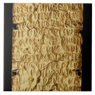 Gold plate with 'lengthy' Etruscan inscription fro Large Square Tile