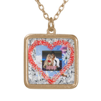 GOLD PLATED NECKLACE: Love Square Pendant Necklace