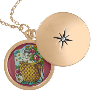 Gold plated necklace with vintage kitten motive