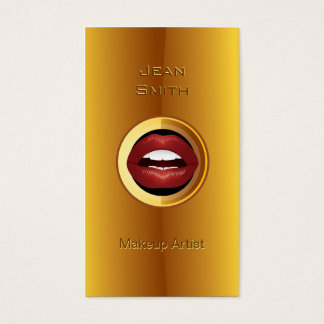 Gold Plated Red Lips Makeup Artist business card