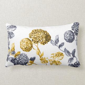 Gold & Platinum Modern Botanical Floral Toile Lumbar Pillow