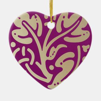 Gold & Plum Leaves Ceramic Ornament
