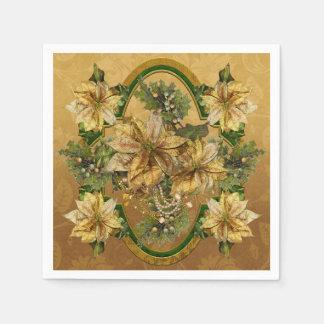 Gold Poinsettias Napkin