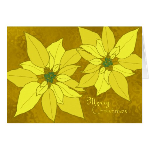 Gold Poinsettias Template Christmas Cards