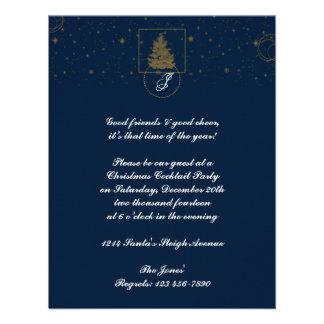 Gold Polka Dot Circle on Snow Blue Christmas Tree Invite
