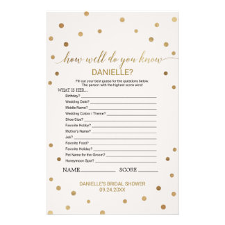Gold Polka Dot How Well Do You Know The Bride Game Flyer