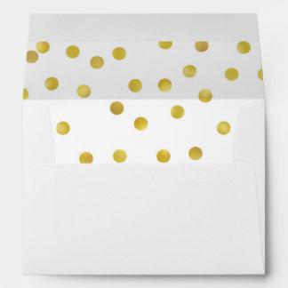 Gold Polka Dot Lined Envelope