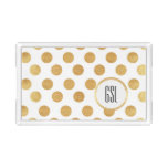 Gold Polka Dot Monogram Acrylic Tray