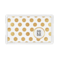 Gold Polka Dot Monogram Acrylic Tray