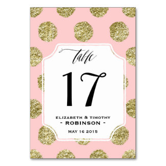 Gold Polka Dot Pink Table cards