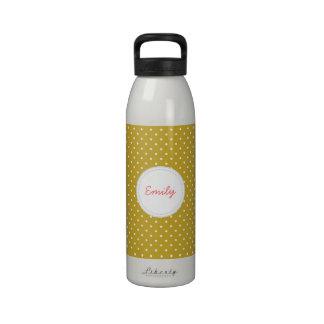 Gold Polka Dot Reusable Water Bottle