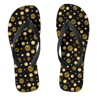 Gold Polka Dot Seamless Pattern Flip Flops
