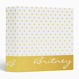 Gold polka dots and monogram - custom binder