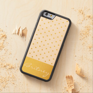 Gold polka dots and monogram - custom carved® maple iPhone 6 bumper