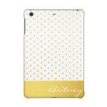 Gold polka dots and monogram - custom iPad mini case