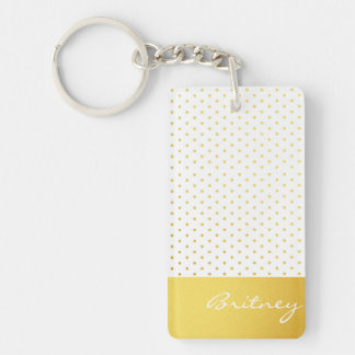Gold polka dots and monogram - custom rectangular acrylic keychain