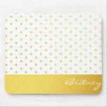 Gold polka dots and monogram - custom mouse pad