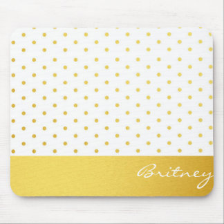 Gold polka dots and monogram - custom mouse pad