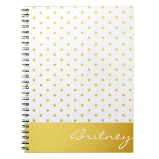 Gold polka dots and monogram - custom notebook