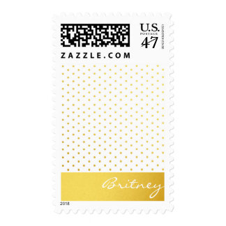 Gold polka dots and monogram - custom postage