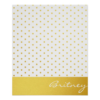 Gold polka dots and monogram - custom posters