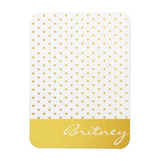 Gold polka dots and monogram - custom rectangular magnet