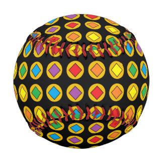 Gold Polka Dots and Rainbow Diamonds Baseball