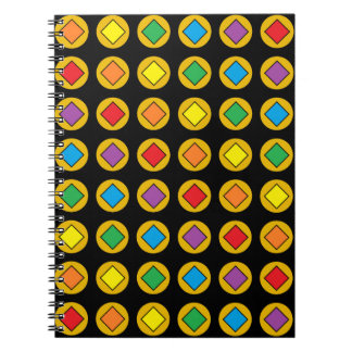 Gold Polka Dots and Rainbow Diamonds Notebook