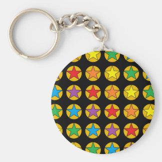 Gold Polka Dots and Rainbow Stars Keychain