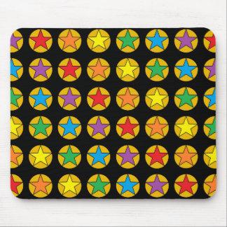 Gold Polka Dots and Rainbow Stars Mouse Pad