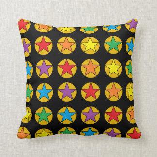 Gold Polka Dots and Rainbow Stars Pillow
