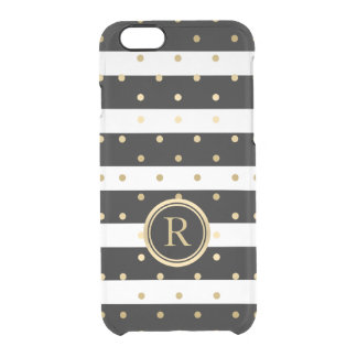 Gold Polka Dots & Black & White Stripes Clear iPhone 6/6S Case