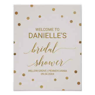 Gold Polka Dots Bridal Shower Welcome Poster