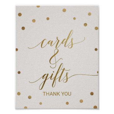 Toddler & Baby themed Gold Polka Dots Cards and Gifts Sign
