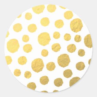 Gold Polka Dots Classic Round Sticker