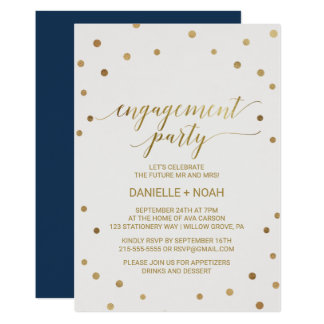 Gold Polka Dots Engagement Party Card
