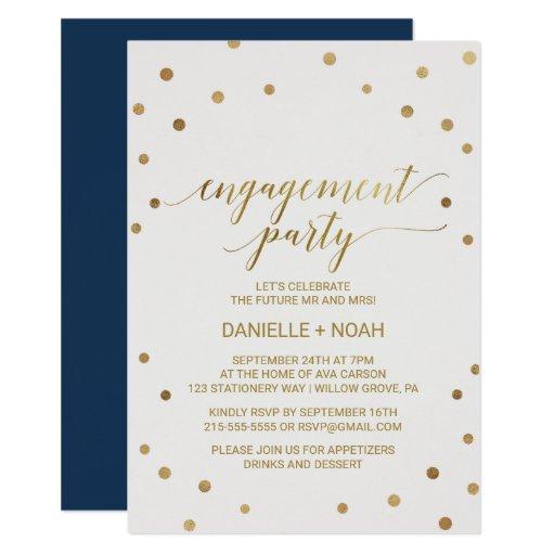 Gold Polka Dots Engagement Party Card
