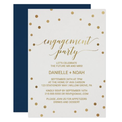 Gold Polka Dots Engagement Party Invitation