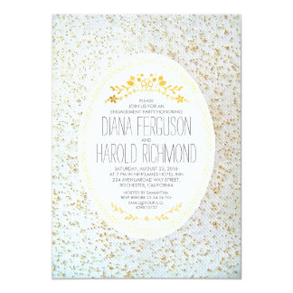 Gold Polka Dots Floral White Engagement Party Card