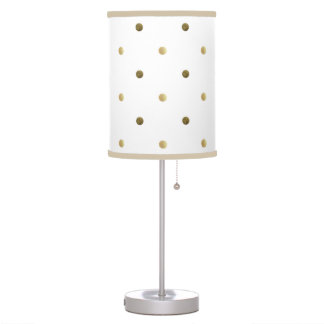 Gold Polka Dots Golden And White Modern Design Table Lamp