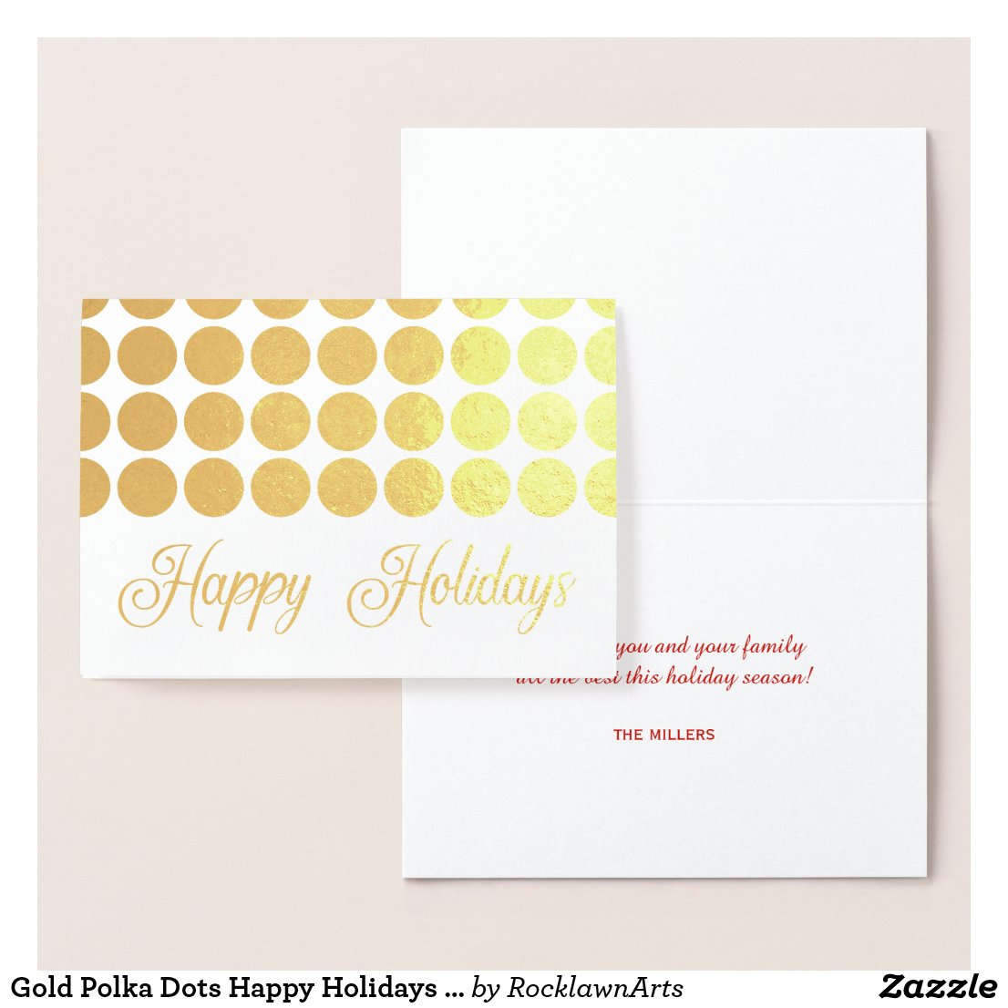Gold Polka Dots Happy Holidays Fancy Script Foil Card